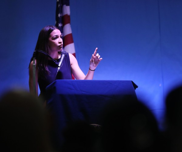 Rep. Alexandria Ocasio-Cortez holds an immigration Town Hall In Queens on July 20, 2019, in New York City. (Spencer Platt/Getty Images)